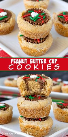 Peanut Butter Cup Cookies - these easy peanut butter cookies are stuffed with a peanut butter cup candy and topped with sprinkles. Great recipe to make for holiday parties and cookie exchanges! Peanut Butter Cups, Easy Peanut Butter Cookies, Best Peanut Butter, Peanut Butter Recipes, Chocolate Chip Shortbread Cookies, Toffee Cookies, Marshmallow Cookies, Quick Cookies, Yummy Cookies