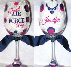 Personalized Custom Wine Glass Wineglass Polka Dots Air Force Wife Girlfriend Mom on Etsy, $8.75