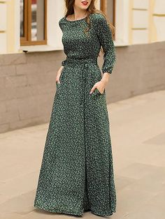ebe680aecdc Green A-Line Daily Floral-Print Maxi Dress