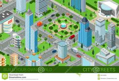 City Block Streets Transport Buildings Flat 3d Isometric Vector - Download From Over 61 Million High Quality Stock Photos, Images, Vectors. Sign up for FREE today. Image: 66194925