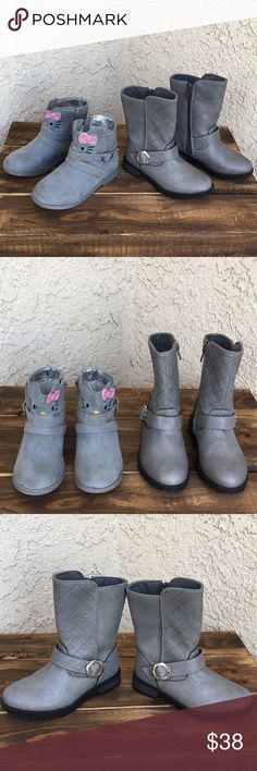 "Toddler Girl Silver and Gray Boot Bundle 9 This listing is for 2 toddler girl size 9 boots. The Hello Kitty Hallie boots have fabric uppers that are like faux suede. They have light wear from being worn a few times. The Cat and Jack boots have only been tried on in the house a few times. Insole length is approx. 6.5"" on both. Hello Kitty Cat and Jack Shoes Boots"