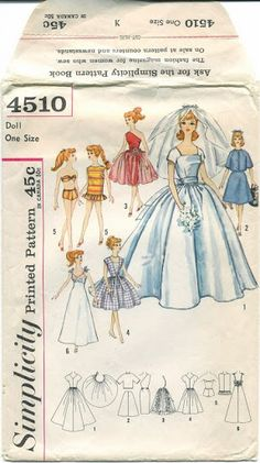 Wedding gown, dresses and sun wear for Barbie Sewing Barbie Clothes, Barbie Sewing Patterns, Sewing Dolls, Doll Clothes Patterns, Doll Patterns, Clothing Patterns, Vintage Patterns, 1950s Clothes, Vintage Barbie Clothes
