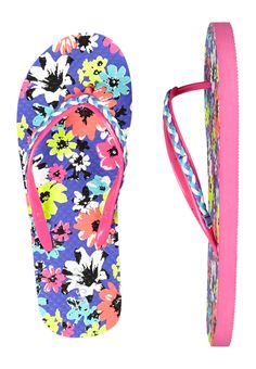 Multi Braided Floral Flip Flops (original price, $10.90) available at #Justice