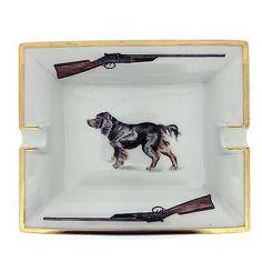 Rare-Authentic-HERMES-Paris-Porcelain-Cigar-Ashtray-Water-Spaniel-Vide-Poche