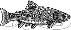 Brook Trout Pen and Ink Zentangle Vinyl 3M Decal by andrealarko