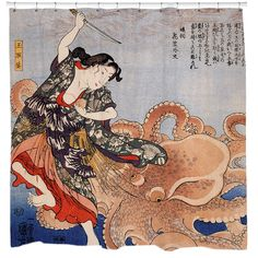 Battling the Octopus Shower Curtain - Overstock™ Shopping - The Best Prices on Bath Decor