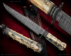 """""""Dogbone Bowie"""" by Mike Quesenberry MS (Quesenberry Knives) Fully integral. sheath by Paul Long"""