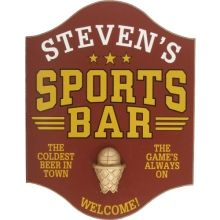 Basketball Sports Bar Personalized Wood Sign