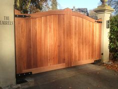 Garden Decor, : Creative Timber Wooden Driveway Gate For Your Outdoor Home Decorating Design Ideas