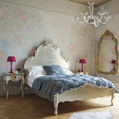 Bed finished in silver leaf, which has been carefully distressed- I would love to try this.