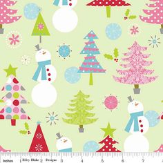 Snowmen and Trees Fabric for Christmas and by 44thStreetFabric, $8.99