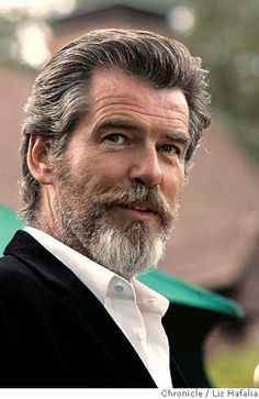 Pierce Brosnan.        thedailybeard:    Pierce with a beard.     um hi !