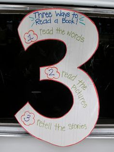 3 ways to read a book - read words, look at pics, retell story