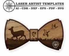 Bow Tie - Doe and Ducks - Digital Laser Cut Template. Great for you to engrave and make for gifts, weddings, birthdays and parties. Vinyl Cutting, Laser Cutting, Rhyming Slang, Silhouette Studio Designer Edition, Laser Printer, Cricut Design, Personalized Gifts, Things To Come, Bows