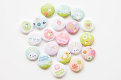 Buttons  Easter set of 20 by buttonsandbadges on Etsy