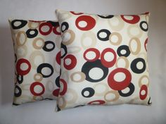 Funky Retro Red Pillow Covers Designer Cushion by WickedWalls, $29.00