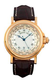 BREGUET HORA MUNDI réf. 3700 n° 583 Belle montre bracelet en or jaune. Boîtier rond, carrure ca