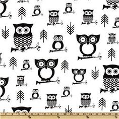 This would be a lot cuter if the owls were brown and the background was cream...premier prints hootie owl white/black