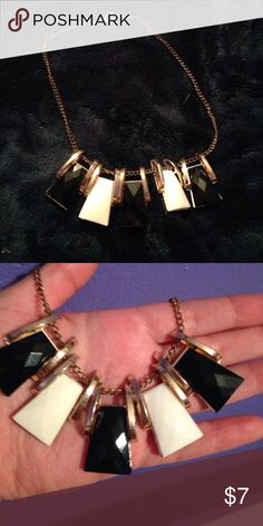 black and white statement necklace a large black, white, and gold necklace that will make a statement no matter how blah you feel that day! Jewelry Necklaces