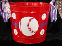 baseball bucket, would be great to fill with baseball goodies and give as a gift