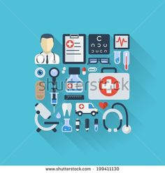 Vector illustration of flat colored icons with long shadows. Abstract medicine background with medical, health, healthcare, doctor, pills, cross symbols. Design elements for mobile, web applications. - stock vector