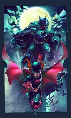 Batman and Batgirl by Ivanna Matilla Batwoman, Batman And Batgirl, Im Batman, Batman Art, Batman Robin, Nightwing, Superman, Batman Arkham, Comic Book Characters