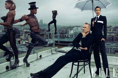 Jessica Biel with designer Jean Paul Gaultier on the roof of his Atelier