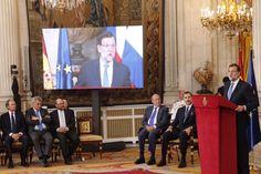 Su Majestad el Rey y Su Majestad el Rey Don Juan Carlos durante la intervención del presidente del Gobierno, Mariano Rajoy Palacio Real de Madrid, 24.06.2015
