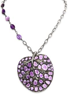 Michael Aram Large Leaf Pendant Necklace with Amethyst