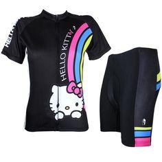 728ba3b1b Cartoon World-HELLO KITTY Women s Professional Cycling Suit Jersey Sport  Wear Pink Black