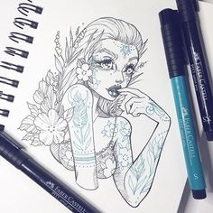 A doodle in between commission work which I can't show you yet. I hope you are all having a lovely weekend ✨ #art #drawing #illustration #graphicartery #ink #sketch #tattoo #flowers #myart #instaart #artist #drawing #witch #occult