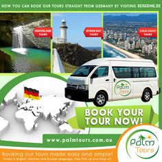Now you can book our Tours straight from Germany by visiting Reisebine.de website, Germany's biggest Information website about Australia!  Booking Link: http://www.reisebine.info/touren-oz/tourenausgabe-ort.asp?Ort=Brisbane  Palm Tours offers an inexpensive exciting day trips to Surfers Paradise, Gold Coast Hinterland and Byron Bay!  To read more information about our package tours and services, visit our site at http://palmtours.com.au/  #travel #Australia #Germany #PalmTours