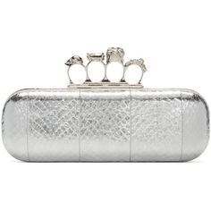 Alexander Mcqueen Silver Snakeskin Knucklebox Clutch ($1,970) ❤ liked on Polyvore featuring bags, handbags, clutches, white box clutch, clear purse, silver clutches, white purse and white handbags