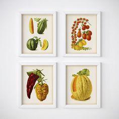 Kitchen print set Vegetable decor by RestoredBotanicalArt on Etsy