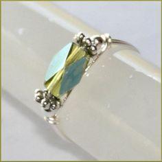 "Unique AB Olivine Swarovski Crystal ""Toe or Finger"" Ring in Silver plt Sizes 3 - 10 by Maru"