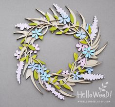 Spring EASTER Wood Wreath Decoration by MyHelloWood on Etsy