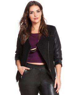 Asymmetrical Faux Leather Sleeve Blazer from eloquii.com