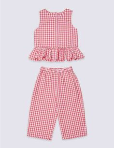 Marks and Spencer 2 Piece Pure Cotton Top & Bottom Outfit Months - 7 Years) Baby Girl Dress Patterns, Baby Dress Design, Baby Clothes Patterns, Frock Design, Frocks For Girls, Dresses Kids Girl, Kids Outfits, Cotton Frocks For Kids, Girls Dresses Sewing