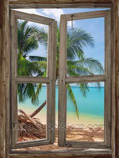 TROPICAL WINDOW SELF ADHESIVE WALL MURAL... Love this!  And how it looks like driftwood.  I need a place for this mural!
