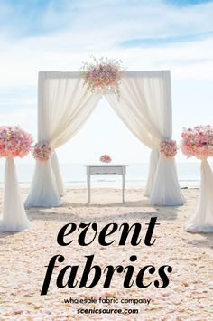 Get backdrop fabrics and wedding fabrics for draping and swagging from Scenicsource.com Outdoor Wedding Backdrops, Wedding Draping, Wedding Reception Backdrop, Wedding Canopy, Wedding Fabric, Canopy Outdoor, Canopy Tent, Wedding Flowers, Summer Wedding Decorations