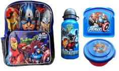 Marvel Avengers Backpack with Lunch Box Attachment Lunch Set Includes Bottle Sandwich and Snack Container