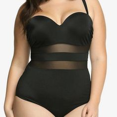 Plus Big Size 4XL Women's Sexy Cheely Bustier Push Up Mesh One Piece Beachwear Sets Swimsuits Bath Bathing Suits Swimwear 2017