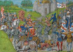 Episódio das guerras fernandinas: o exército luso-inglês (do lado direito) derrota uma vanguarda francesa às ordens do Rei de Castela. D. Fernando é a figura a cavalo, à direita.