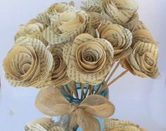 Paper flowers made from book pages 600 via etsy if ever love this summer wedding ideassummer weddingsbook pagespaper flowersdiy crafts mightylinksfo
