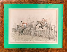 Paul Desmond Brown Getting Along, Signed, 1929, Foxhunters Clearing a Stonewall