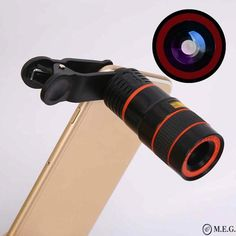 This amazing device can transform your smartphone by taking professional looking pictures! Features: Can be used as binoculars to view a distant landscape Take photos at a distance without having to increase the zoom and decrease the quality of your pictu Big Camera, Professional Camera, Phone Lens, Office Gadgets, Photography Tools, All Smartphones, Latest Gadgets, Zoom Lens, Telescope