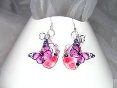 Boucles d'oreilles argent 925 Fil d'aluminium avec perles en cristal et trèfles