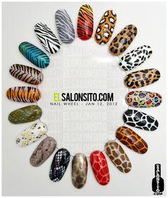 Animal Print Nails: Leopard, Giraffe, Snake, Tiger, Zebra.