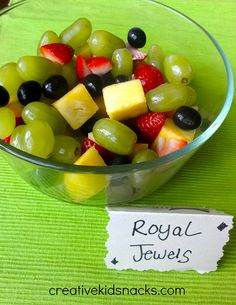 "Serve fruit labeled as ""Royal Jewels"" for an easy Princess Party menu item"