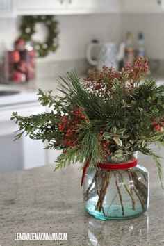 I love all the Christmas decor too, especially this centerpiece that is perfect for my island